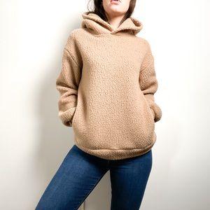 Babaton Sherpa Tan Oversized Lounge Hoodie Sweater